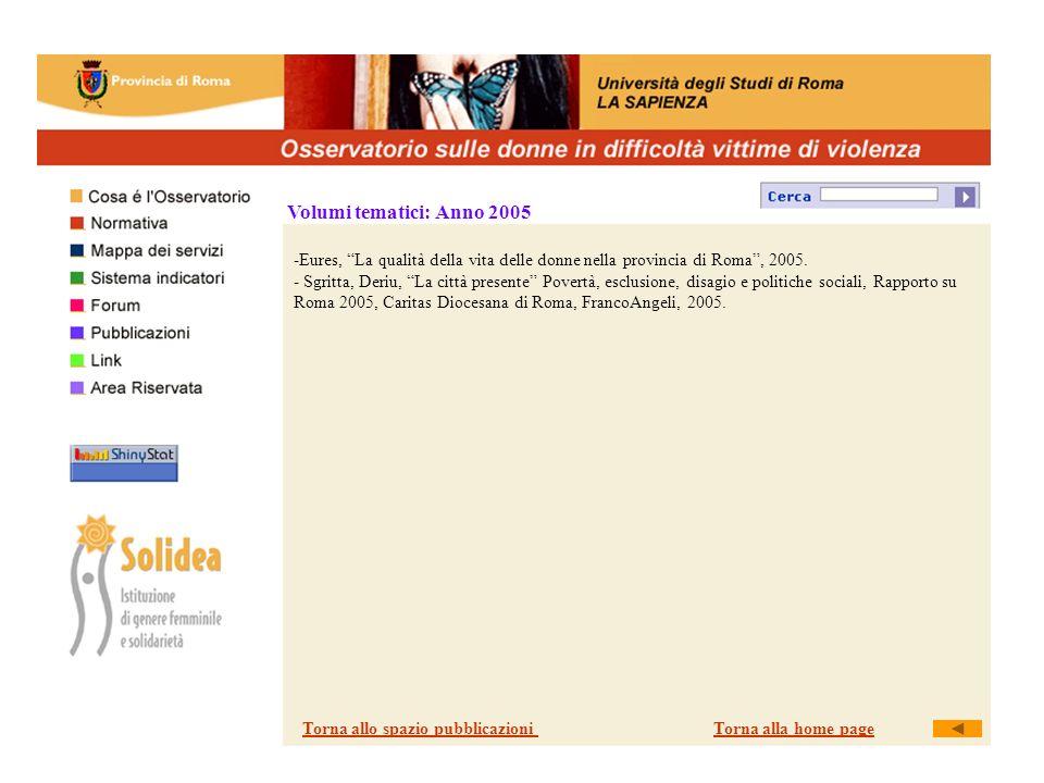 Volumi tematici: Anno 2005 -Eures, La qualità della vita delle donne nella provincia di Roma, 2005.