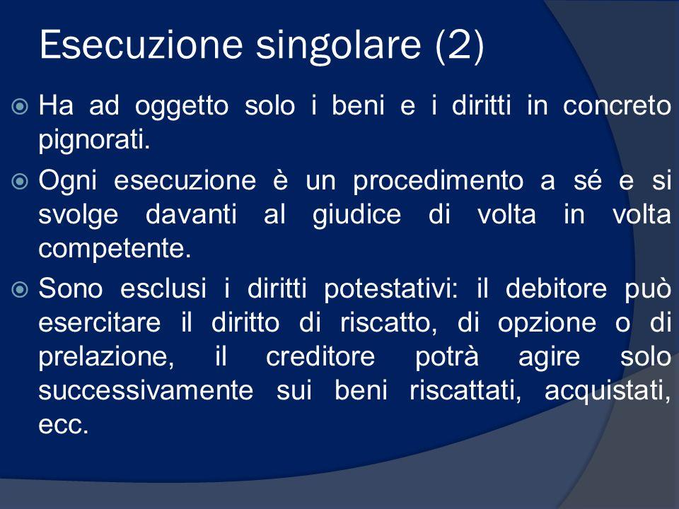Esecuzione singolare (2) Ha ad oggetto solo i beni e i diritti in concreto pignorati. Ogni esecuzione è un procedimento a sé e si svolge davanti al gi