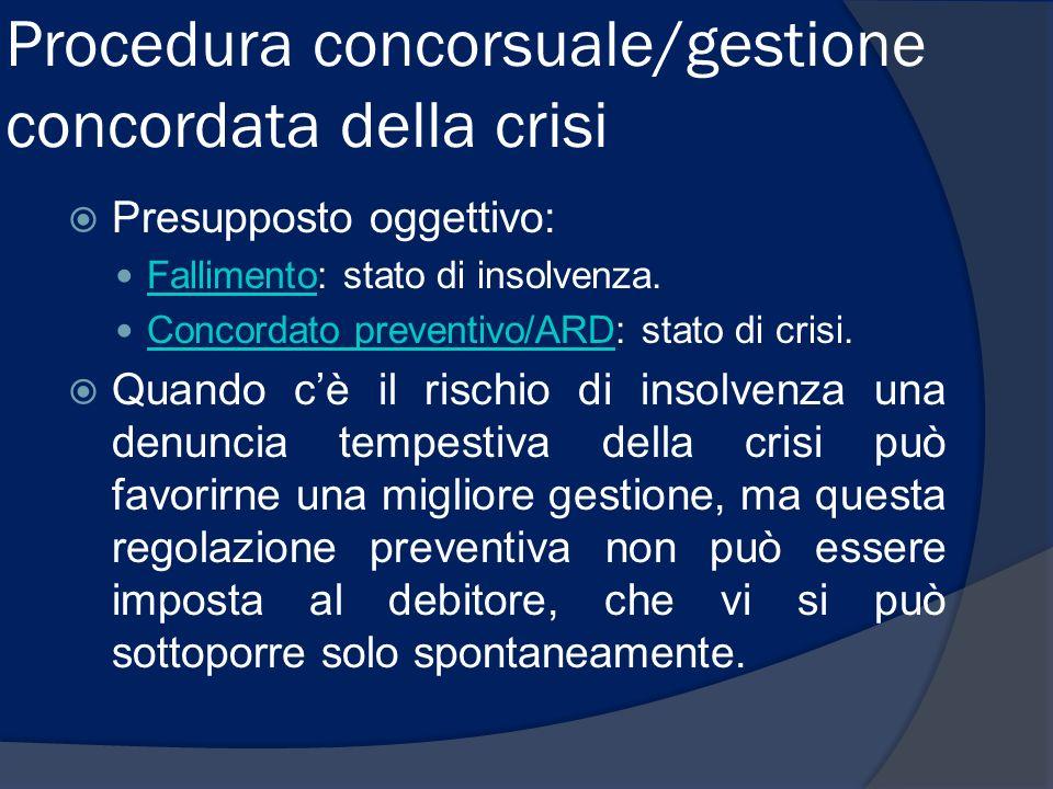 Procedura concorsuale/gestione concordata della crisi Presupposto oggettivo: Fallimento: stato di insolvenza. Fallimento Concordato preventivo/ARD: st