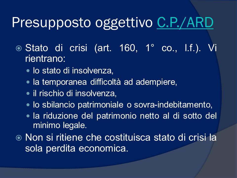 Presupposto oggettivo C.P./ARDC.P./ARD Stato di crisi (art. 160, 1° co., l.f.). Vi rientrano: lo stato di insolvenza, la temporanea difficoltà ad adem