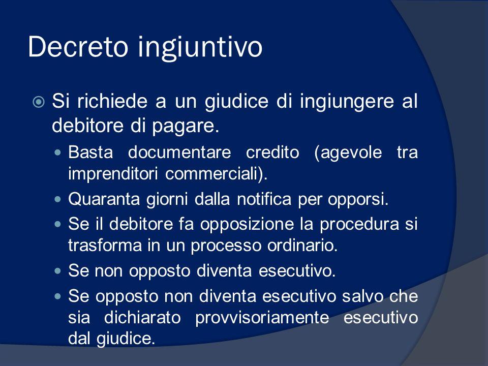 Decreto ingiuntivo Si richiede a un giudice di ingiungere al debitore di pagare. Basta documentare credito (agevole tra imprenditori commerciali). Qua