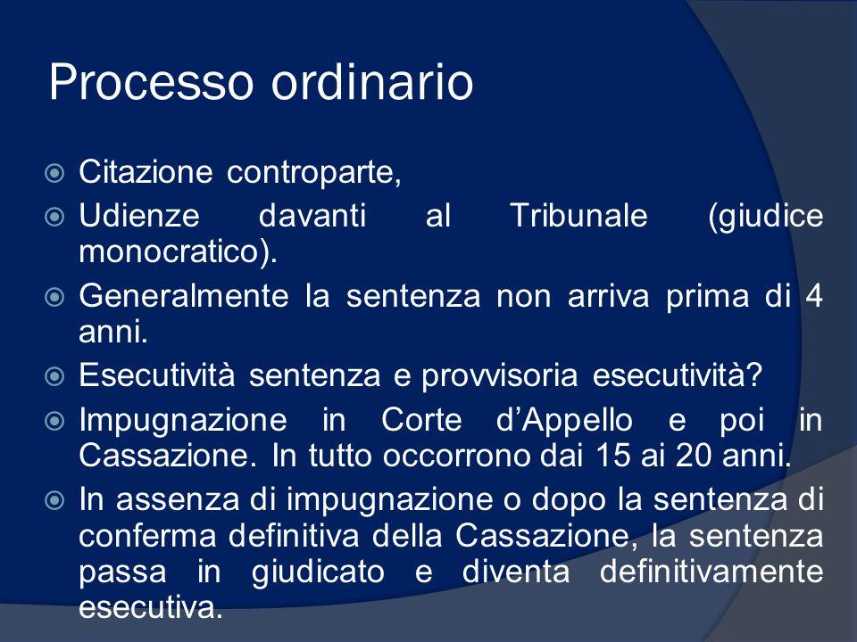 Processo ordinario Citazione controparte, Udienze davanti al Tribunale (giudice monocratico). Generalmente la sentenza non arriva prima di 4 anni. Ese
