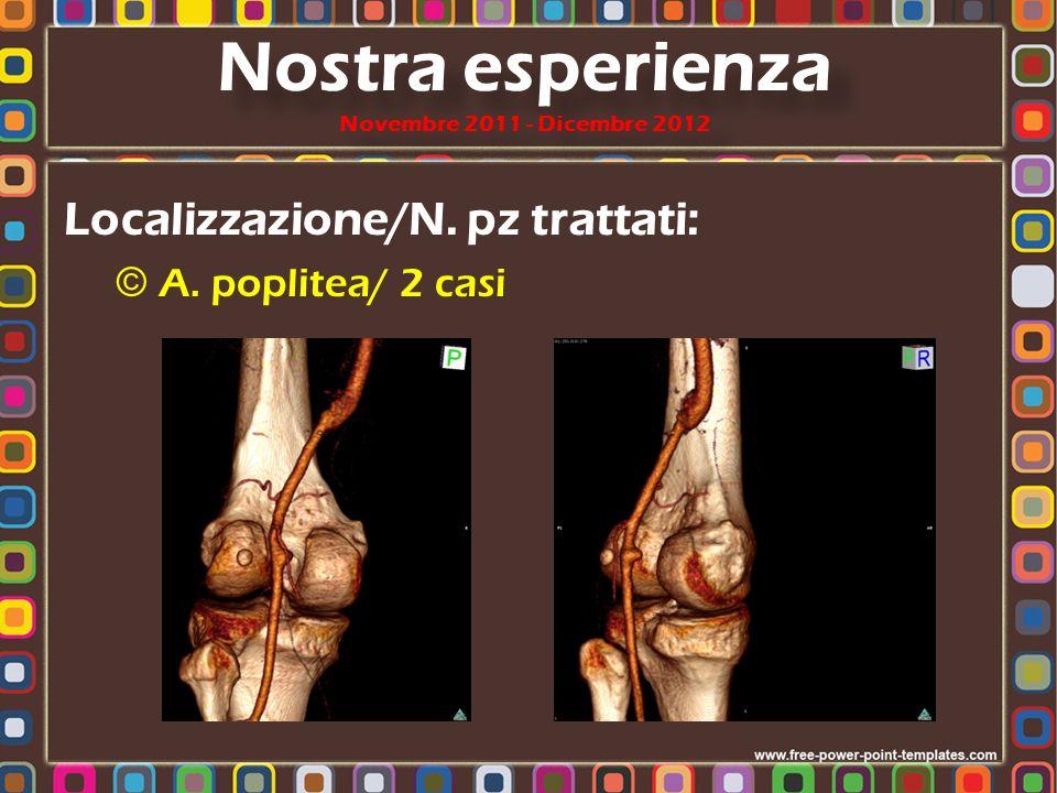 Localizzazione/N. pz trattati: © A. poplitea/ 2 casi Nostra esperienza Novembre 2011 - Dicembre 2012