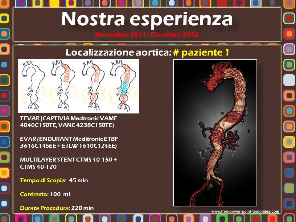 Localizzazione aortica : # paziente 1 Nostra esperienza Novembre 2011 - Dicembre 2012 Volume rendering Follow-up Preoperatorio FU: 1 mese FU: 6 mesi FU: 12 mesi