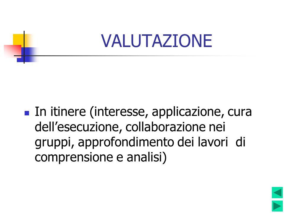VALUTAZIONE In itinere (interesse, applicazione, cura dellesecuzione, collaborazione nei gruppi, approfondimento dei lavori di comprensione e analisi)