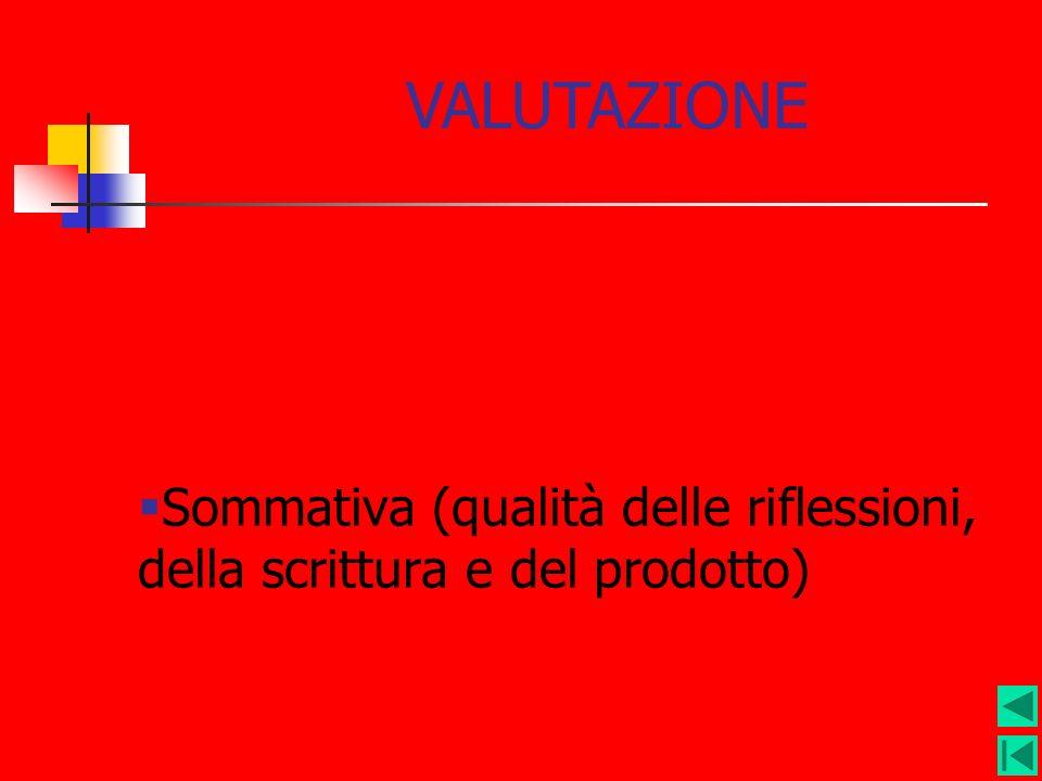 Sommativa (qualità delle riflessioni, della scrittura e del prodotto) VALUTAZIONE
