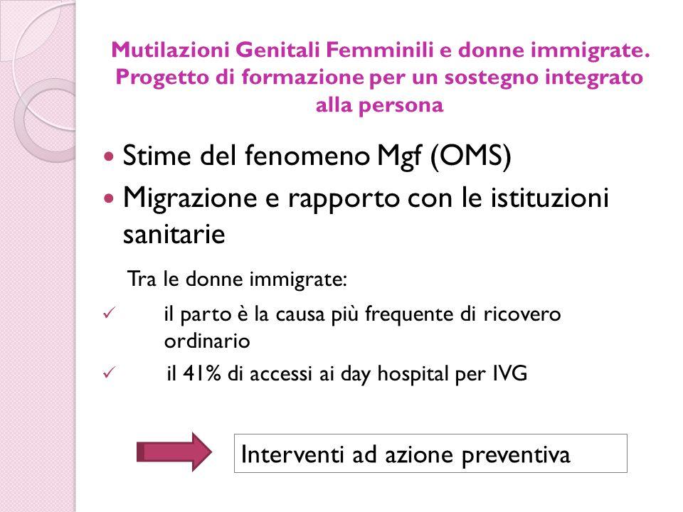Mutilazioni Genitali Femminili e donne immigrate. Progetto di formazione per un sostegno integrato alla persona Stime del fenomeno Mgf (OMS) Migrazion