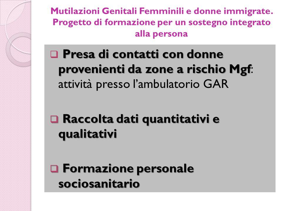 Mutilazioni Genitali Femminili e donne immigrate. Progetto di formazione per un sostegno integrato alla persona Presa di contatti con donne provenient