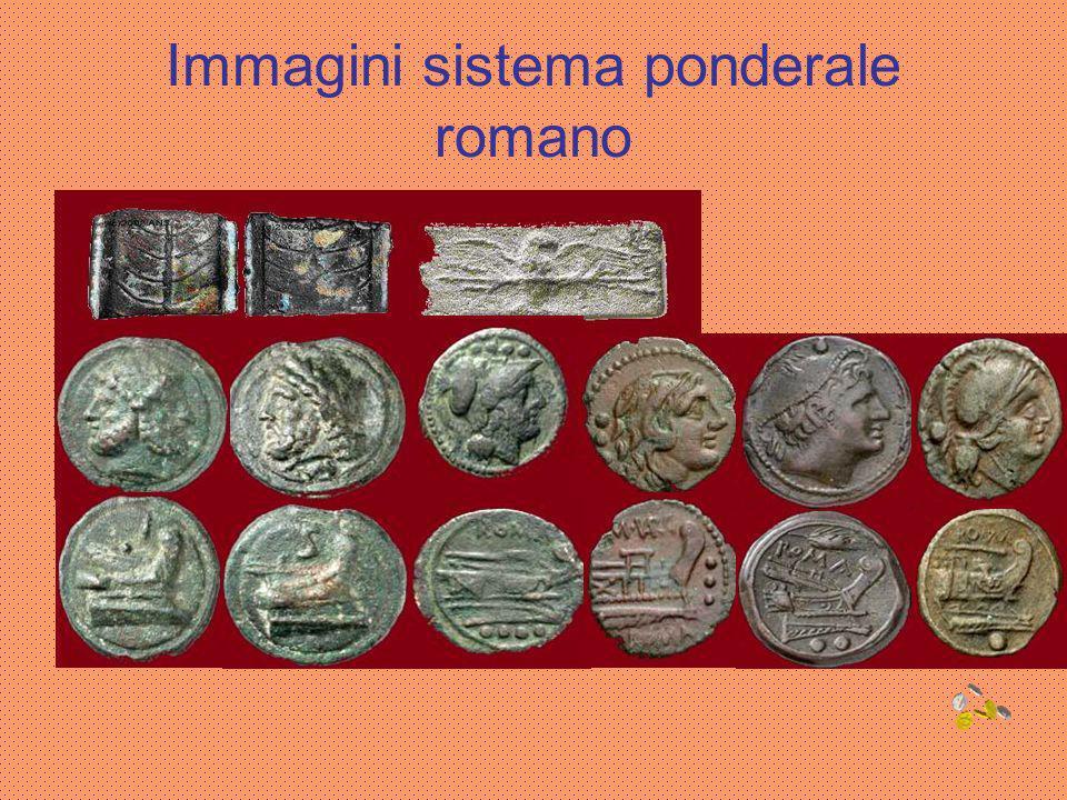 Le monete romane La più antica moneta romana è lAes Rude,un pezzo di bronzo informe.Da questo verso la fine del IV sec.