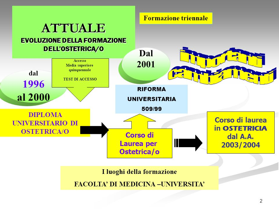 2 ATTUALE EVOLUZIONE DELLA FORMAZIONE DELLOSTETRICA/O dal 1996 al 2000 DIPLOMA UNIVERSITARIO DI OSTETRICA/O Formazione triennale Dal 2001 I luoghi del