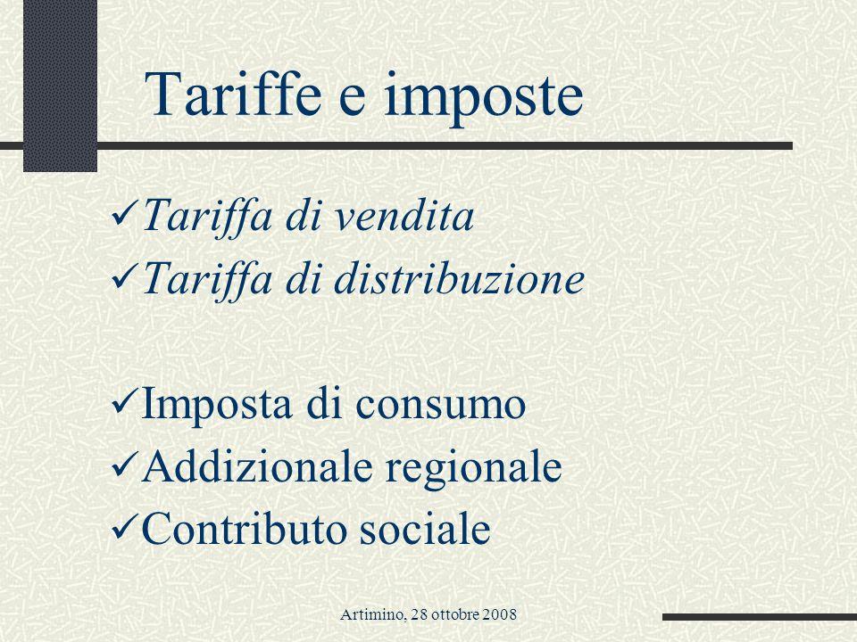 Artimino, 28 ottobre 2008 Tariffe e imposte Tariffa di vendita Tariffa di distribuzione Imposta di consumo Addizionale regionale Contributo sociale