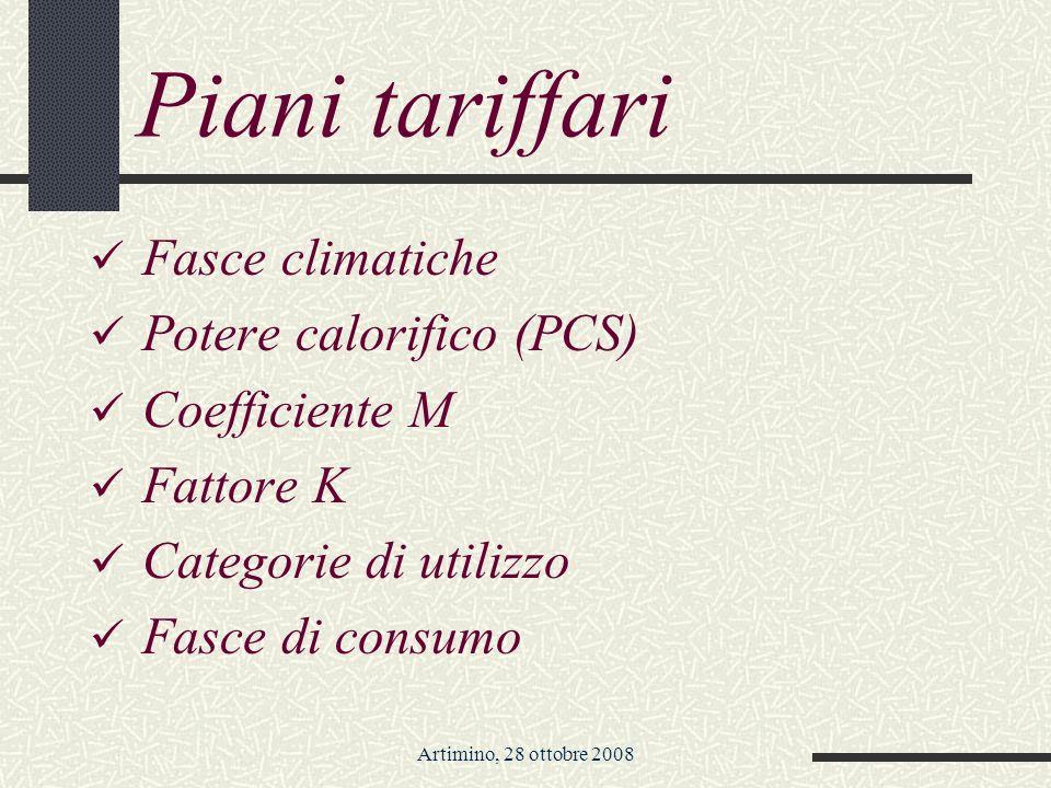Artimino, 28 ottobre 2008 Piani tariffari Fasce climatiche Potere calorifico (PCS) Coefficiente M Fattore K Categorie di utilizzo Fasce di consumo
