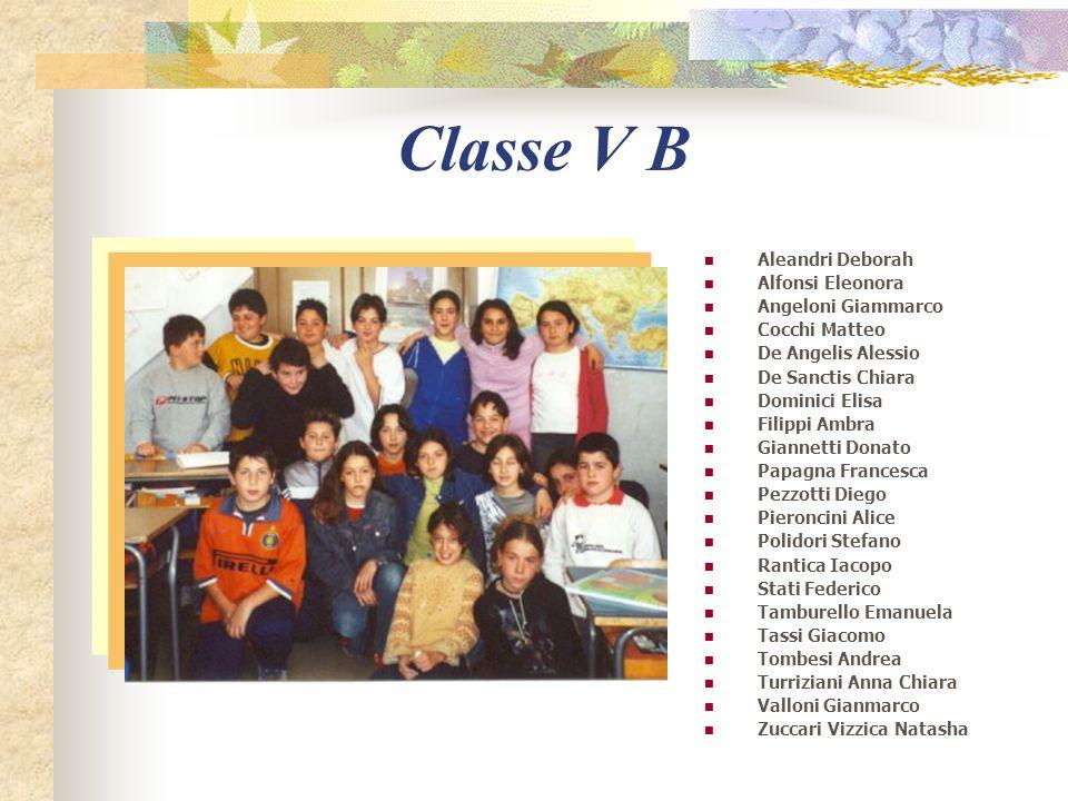 Classe V A Bianchi Valentina Calvani Federico Campitelli Virginia Caprioli Martina De Michelis Silvia Dervishi Giulia Di Donato Veronica Di Lelio Iren