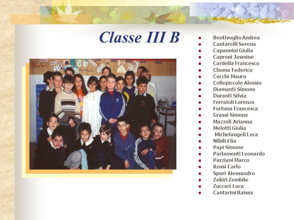 Classe III A Angelo Diletta Maria Bernabei Fiore Campagnoni Teodora Cancellieri Matteo Ciavatti Michela Cimmarusti Arianna Colangelo Alessandro Del Ba