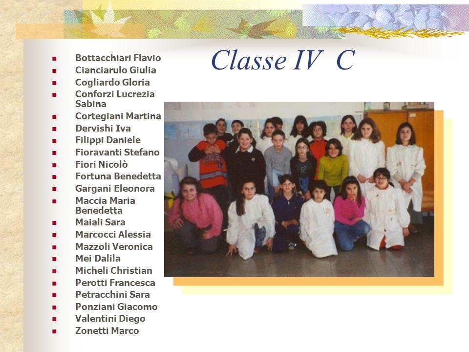 Classe IV B Alenandri Guglielmo Bizzaro Alberto DEvangelistra Maria Viola Di Chiara Viviana Di Dinato Silvia Di Francesco Prisca Di Girolamo Maria Fer