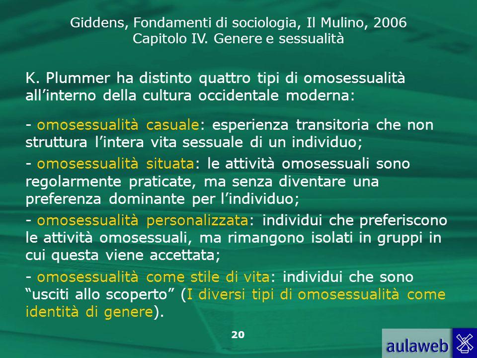 Giddens, Fondamenti di sociologia, Il Mulino, 2006 Capitolo IV. Genere e sessualità 20 K. Plummer ha distinto quattro tipi di omosessualità allinterno