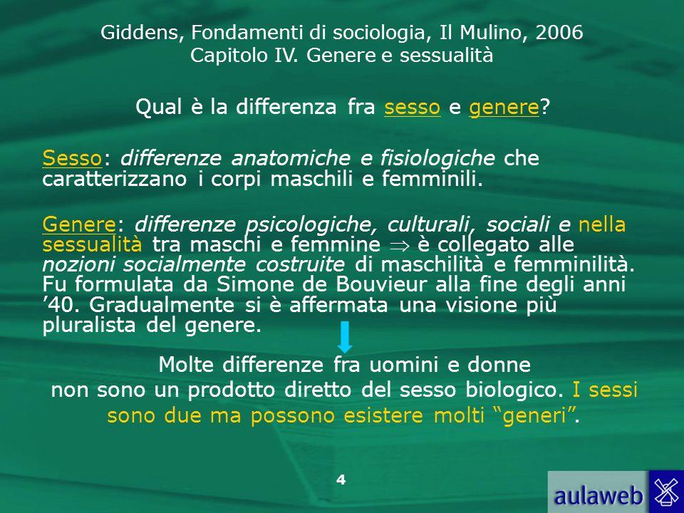 Giddens, Fondamenti di sociologia, Il Mulino, 2006 Capitolo IV. Genere e sessualità 4 Qual è la differenza fra sesso e genere? Sesso: differenze anato
