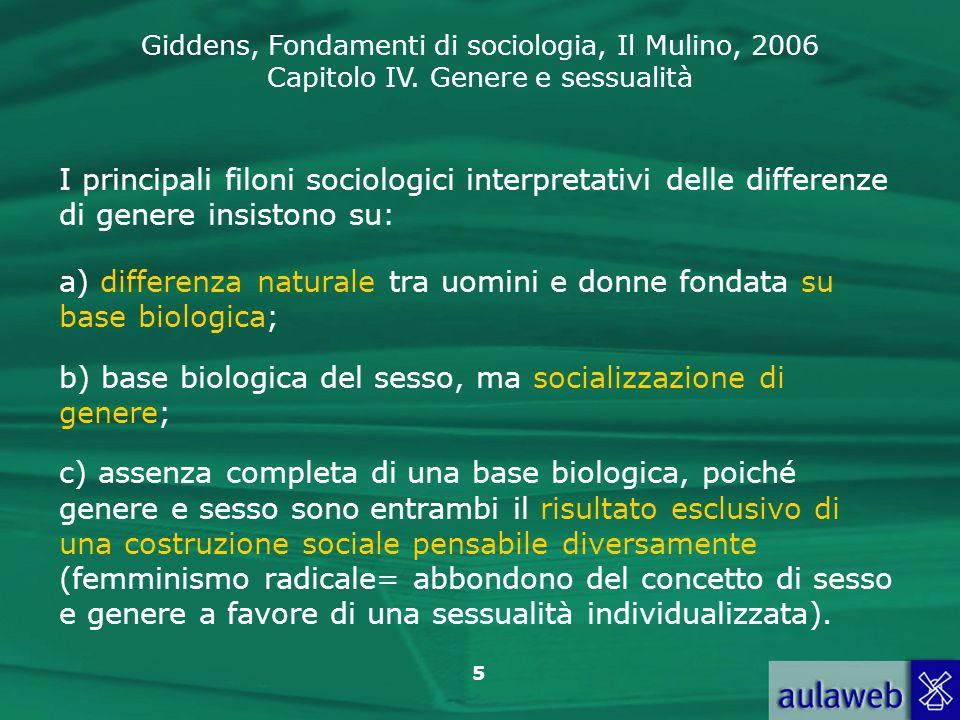 Giddens, Fondamenti di sociologia, Il Mulino, 2006 Capitolo IV. Genere e sessualità 5 I principali filoni sociologici interpretativi delle differenze