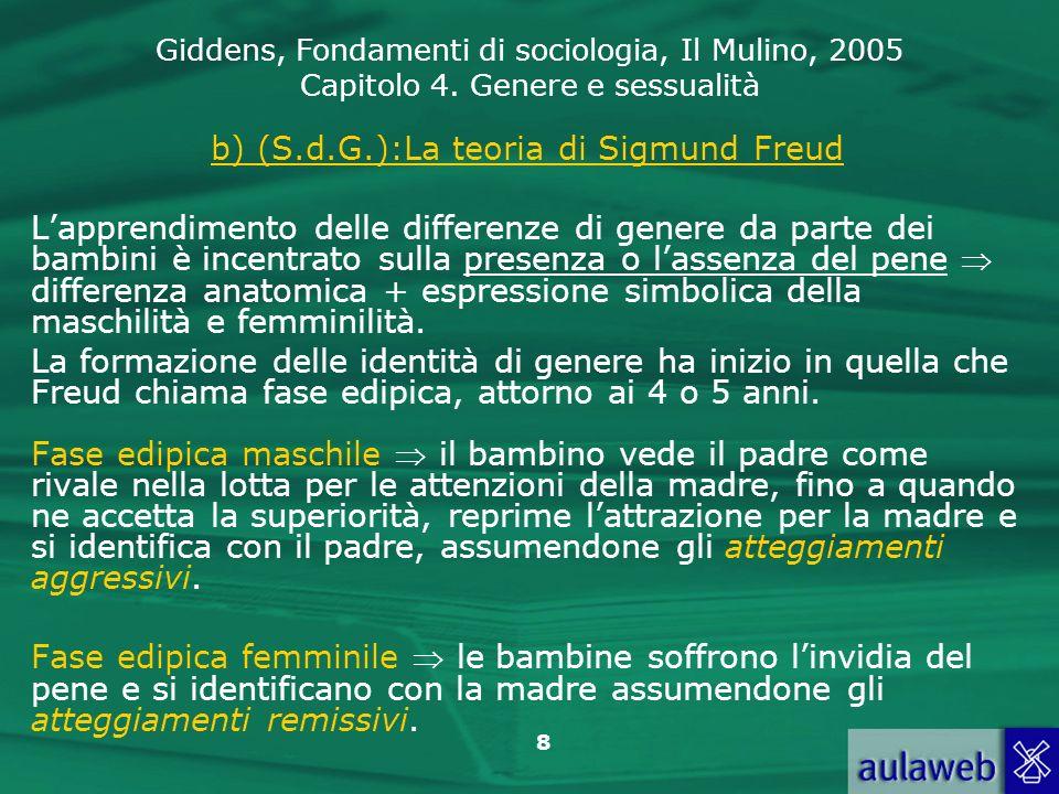 Giddens, Fondamenti di sociologia, Il Mulino, 2005 Capitolo 4. Genere e sessualità 8 b) (S.d.G.):La teoria di Sigmund Freud Lapprendimento delle diffe
