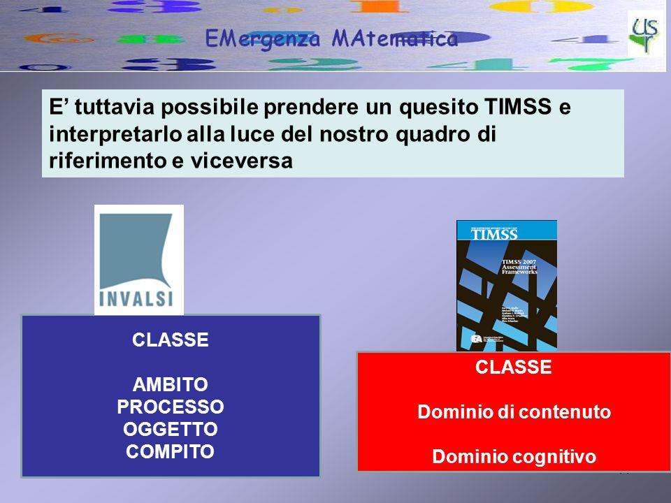 27/04/201411 E tuttavia possibile prendere un quesito TIMSS e interpretarlo alla luce del nostro quadro di riferimento e viceversa CLASSE Dominio di contenuto Dominio cognitivo CLASSE AMBITO PROCESSO OGGETTO COMPITO
