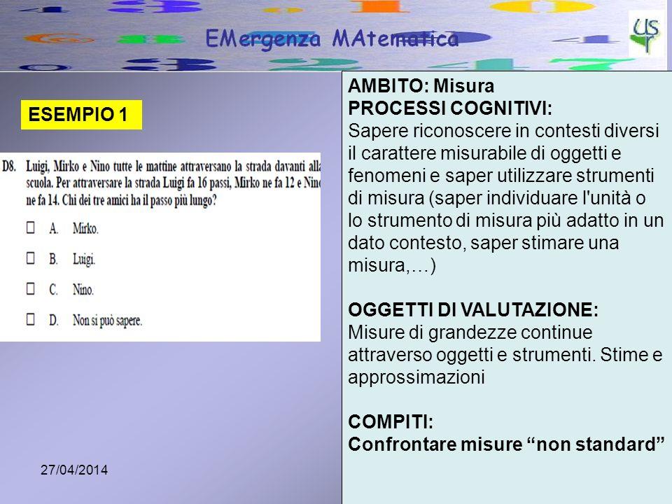 27/04/20143 ESEMPIO 1 AMBITO: Misura PROCESSI COGNITIVI: Sapere riconoscere in contesti diversi il carattere misurabile di oggetti e fenomeni e saper