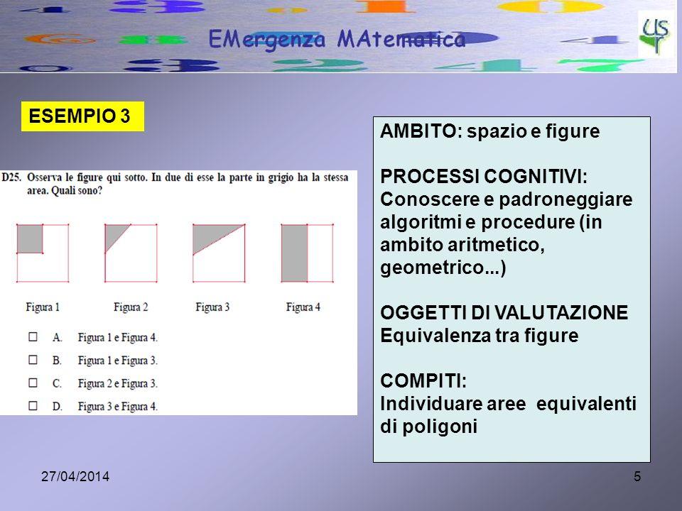 27/04/20145 ESEMPIO 3 AMBITO: spazio e figure PROCESSI COGNITIVI: Conoscere e padroneggiare algoritmi e procedure (in ambito aritmetico, geometrico...) OGGETTI DI VALUTAZIONE Equivalenza tra figure COMPITI: Individuare aree equivalenti di poligoni