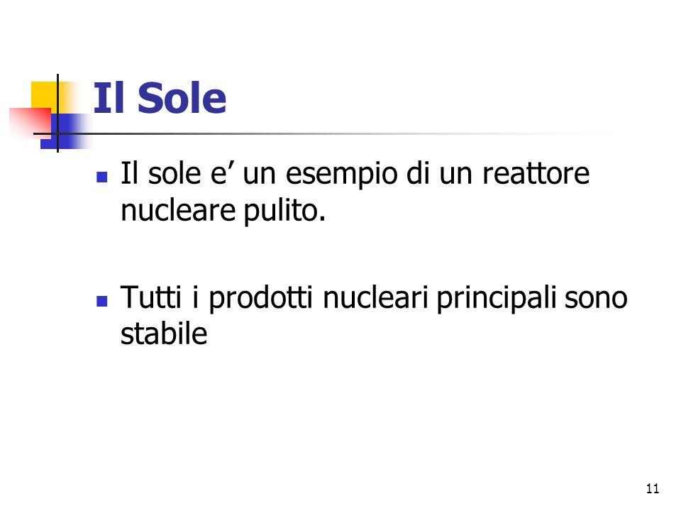 11 Il Sole Il sole e un esempio di un reattore nucleare pulito.