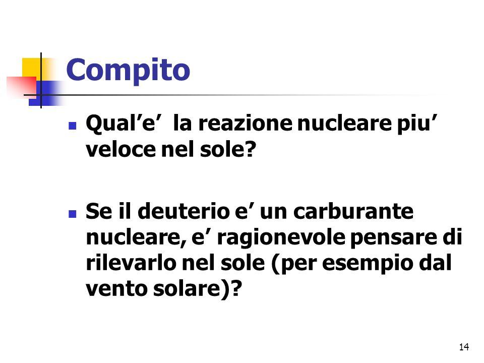 14 Compito Quale la reazione nucleare piu veloce nel sole.