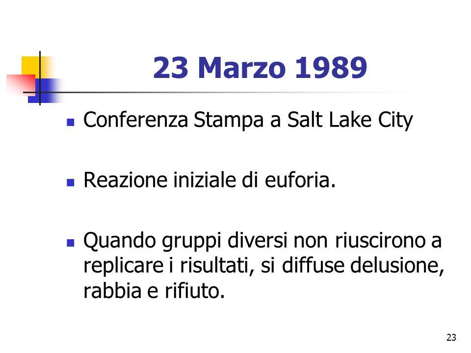 23 23 Marzo 1989 Conferenza Stampa a Salt Lake City Reazione iniziale di euforia.
