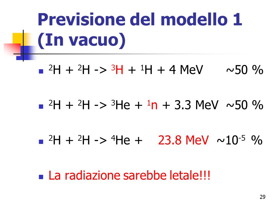 29 Previsione del modello 1 (In vacuo) 2 H + 2 H -> 3 H + 1 H + 4 MeV ~50 % 2 H + 2 H -> 3 He + 1 n + 3.3 MeV ~50 % 2 H + 2 H -> 4 He + 23.8 MeV ~10 -