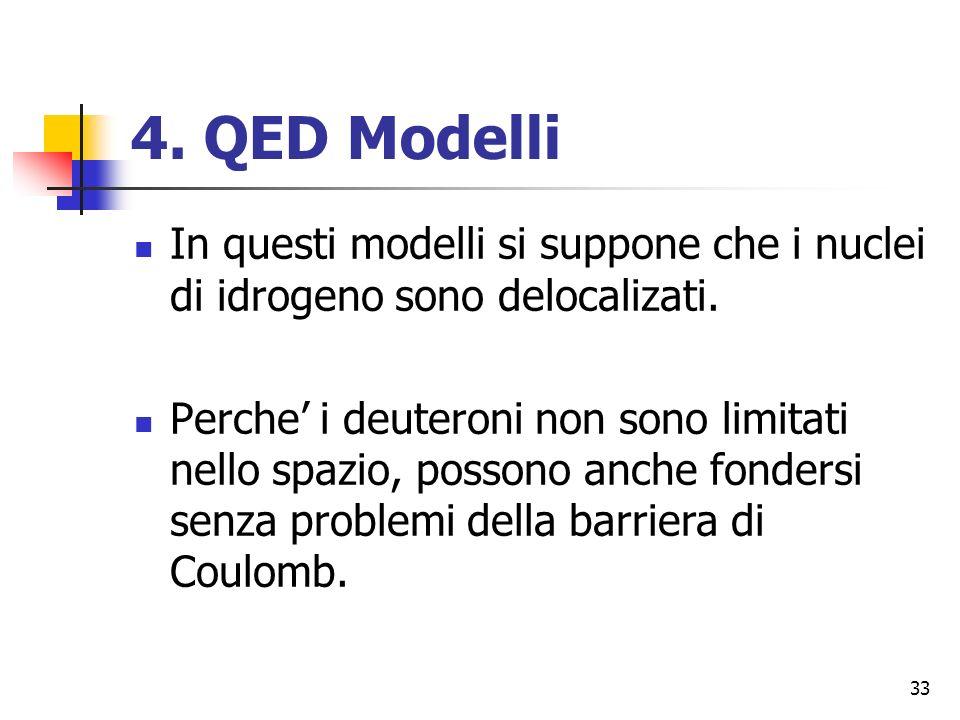 33 4.QED Modelli In questi modelli si suppone che i nuclei di idrogeno sono delocalizati.