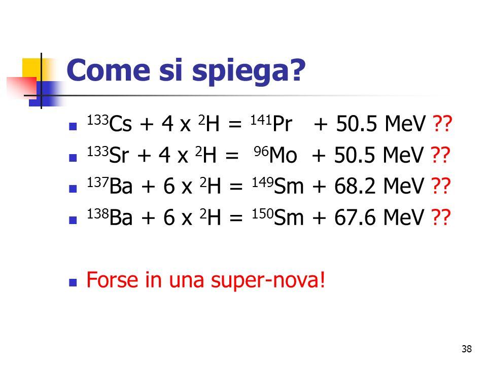 38 Come si spiega.133 Cs + 4 x 2 H = 141 Pr + 50.5 MeV ?.