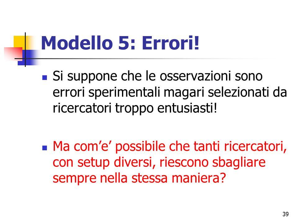 39 Modello 5: Errori.