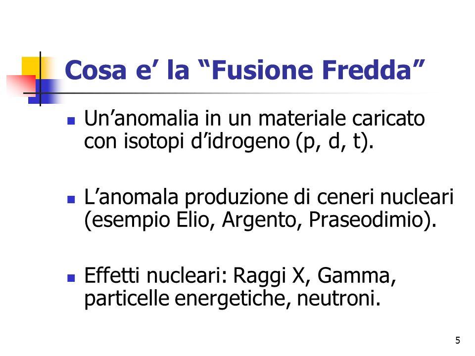 5 Cosa e la Fusione Fredda Unanomalia in un materiale caricato con isotopi didrogeno (p, d, t).