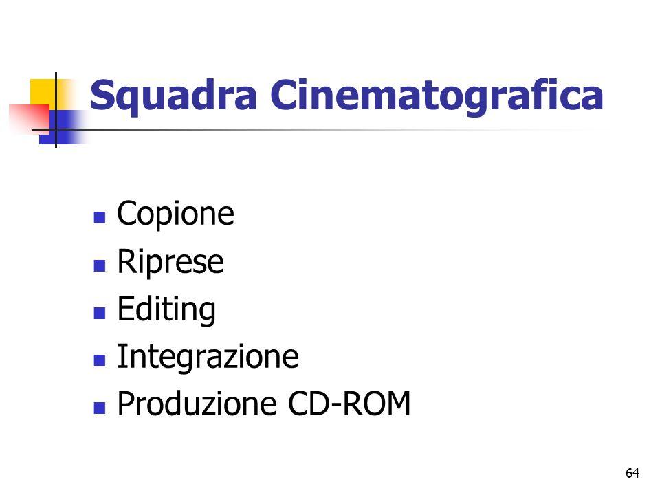 64 Squadra Cinematografica Copione Riprese Editing Integrazione Produzione CD-ROM