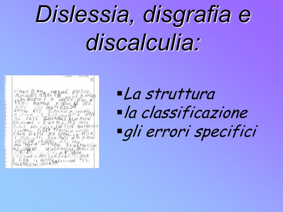 Dislessia, disgrafia e discalculia: La struttura la classificazione gli errori specifici
