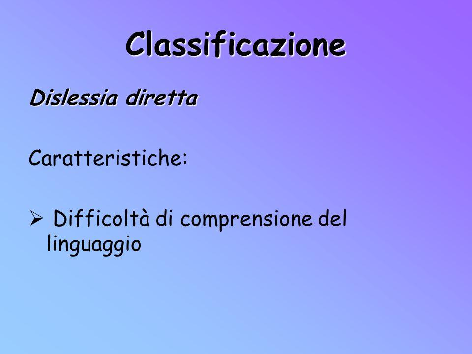 Classificazione Dislessia diretta Caratteristiche: Difficoltà di comprensione del linguaggio
