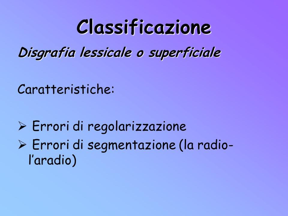 Classificazione Disgrafia lessicale o superficiale Caratteristiche: Errori di regolarizzazione Errori di segmentazione (la radio- laradio)