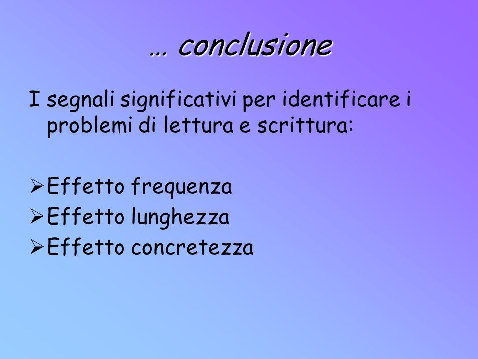 … conclusione I segnali significativi per identificare i problemi di lettura e scrittura: Effetto frequenza Effetto lunghezza Effetto concretezza