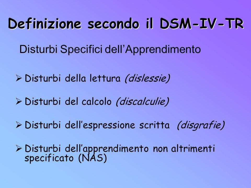 Definizione secondo il DSM-IV-TR Disturbi della lettura (dislessie) Disturbi del calcolo (discalculie) Disturbi dellespressione scritta (disgrafie) Di