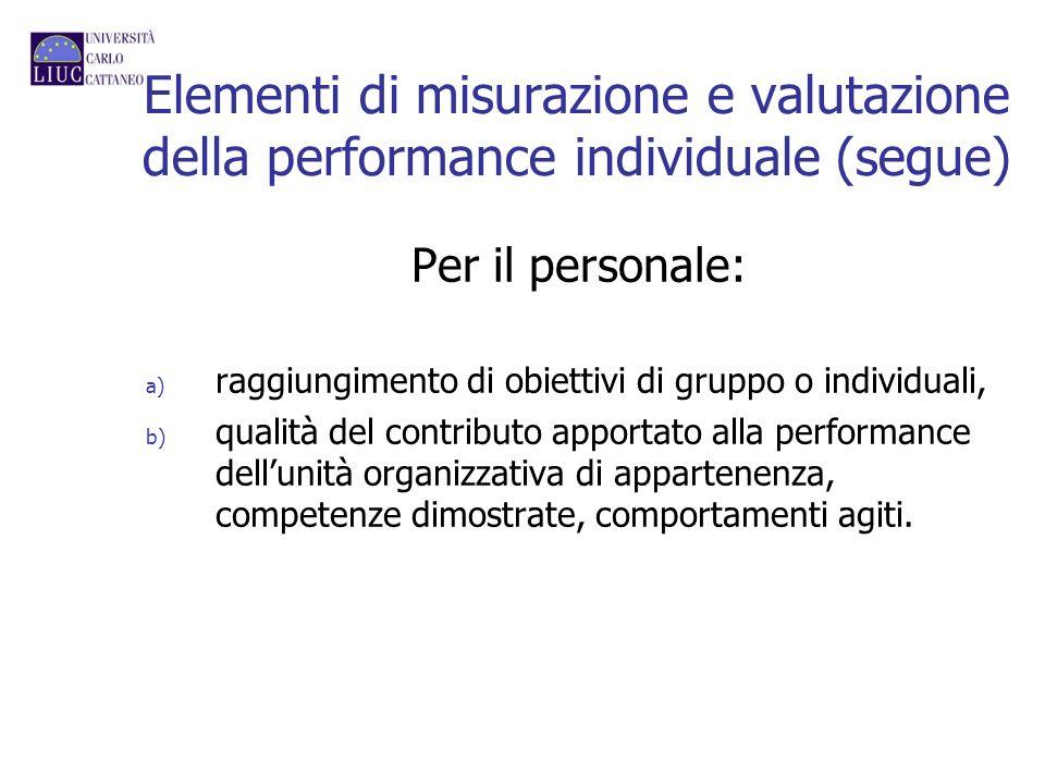 Elementi di misurazione e valutazione della performance individuale (segue) Per il personale: a) raggiungimento di obiettivi di gruppo o individuali,