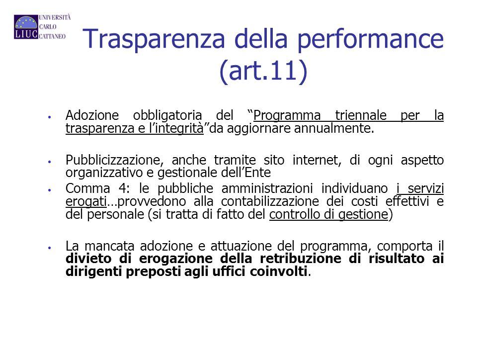 Trasparenza della performance (art.11) Adozione obbligatoria del Programma triennale per la trasparenza e lintegritàda aggiornare annualmente. Pubblic