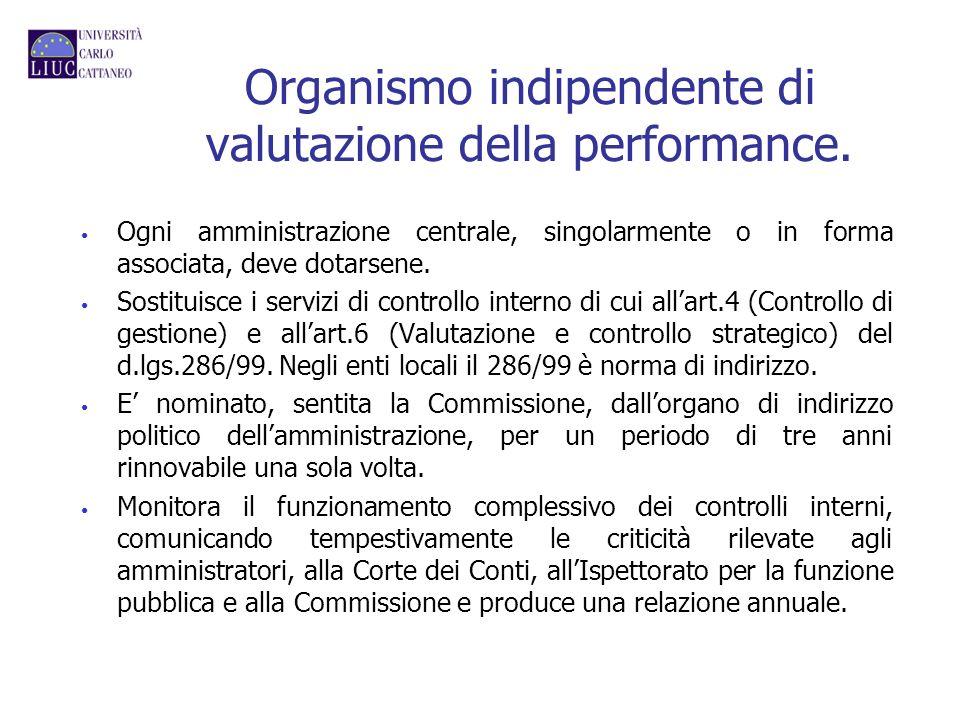 Organismo indipendente di valutazione della performance. Ogni amministrazione centrale, singolarmente o in forma associata, deve dotarsene. Sostituisc