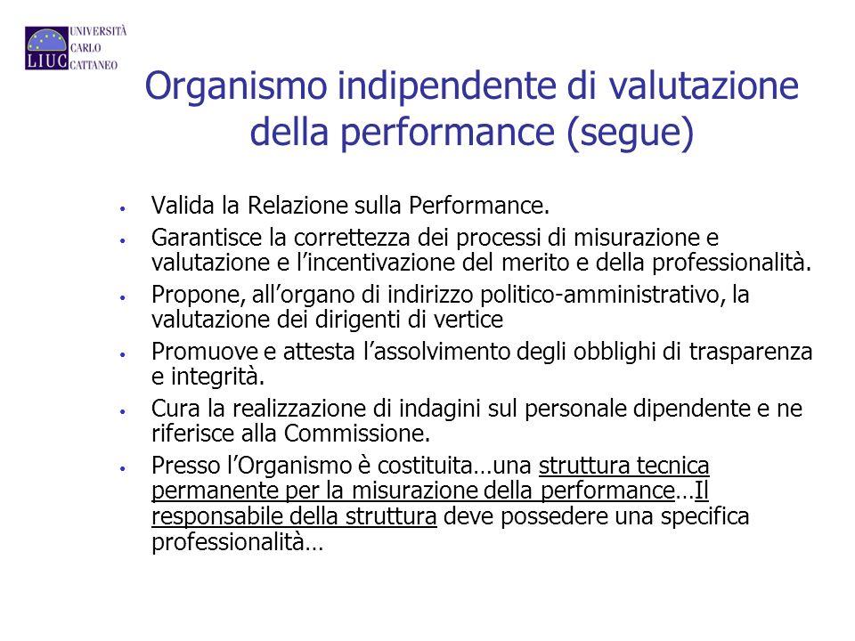 Organismo indipendente di valutazione della performance (segue) Valida la Relazione sulla Performance. Garantisce la correttezza dei processi di misur
