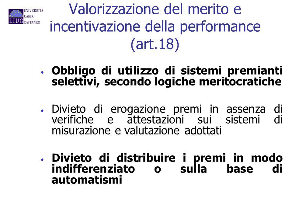 Valorizzazione del merito e incentivazione della performance (art.18) Obbligo di utilizzo di sistemi premianti selettivi, secondo logiche meritocratic