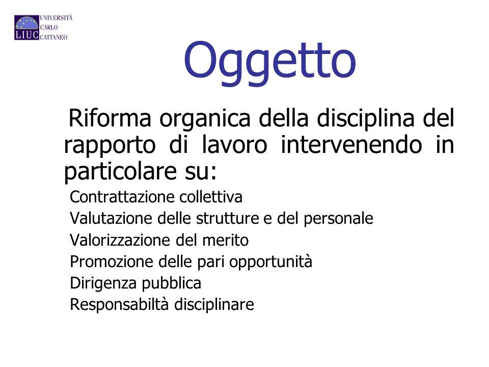 Oggetto Riforma organica della disciplina del rapporto di lavoro intervenendo in particolare su: Contrattazione collettiva Valutazione delle strutture