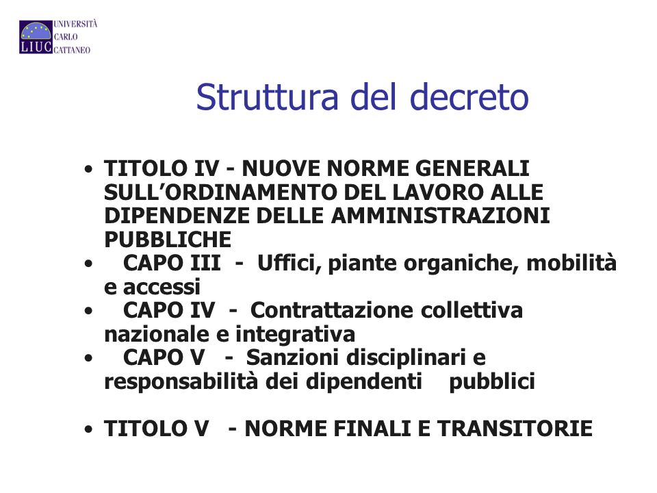 Struttura del decreto TITOLO IV - NUOVE NORME GENERALI SULLORDINAMENTO DEL LAVORO ALLE DIPENDENZE DELLE AMMINISTRAZIONI PUBBLICHE CAPO III - Uffici, p