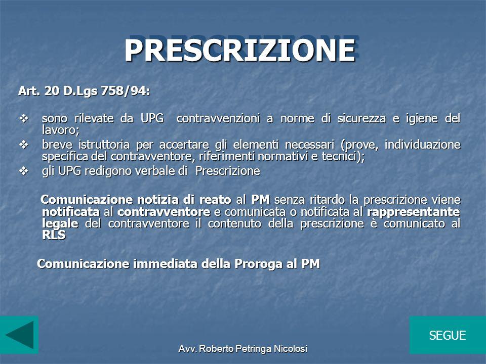 Avv. Roberto Petringa Nicolosi PRESCRIZIONEPRESCRIZIONE Art. 20 D.Lgs 758/94: sono rilevate da UPG contravvenzioni a norme di sicurezza e igiene del l