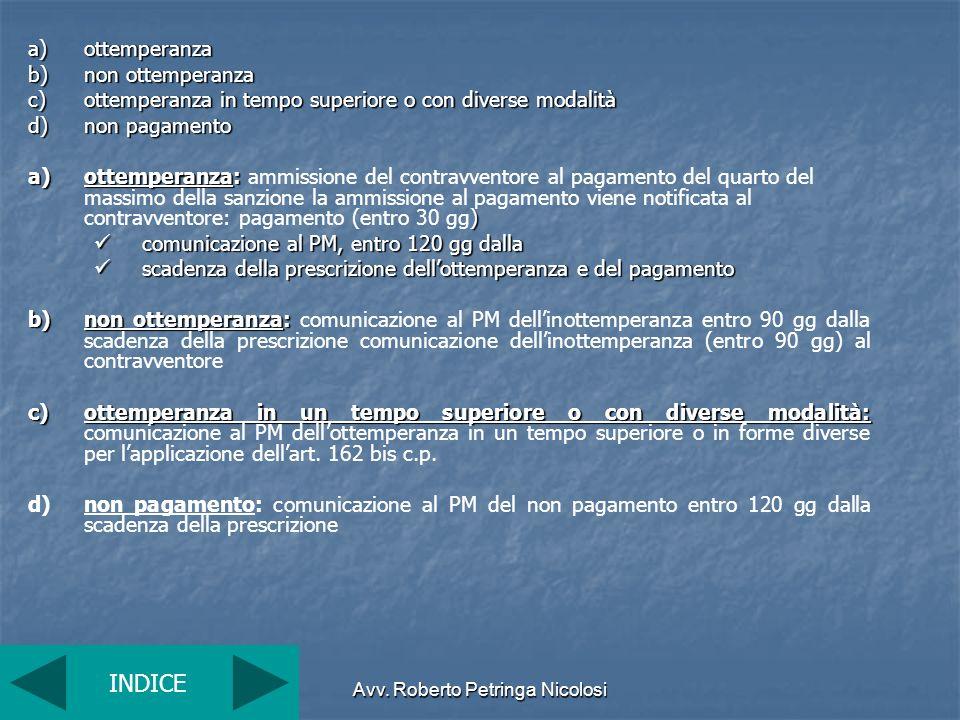 Avv. Roberto Petringa Nicolosi a)ottemperanza b)non ottemperanza c)ottemperanza in tempo superiore o con diverse modalità d)non pagamento a)ottemperan