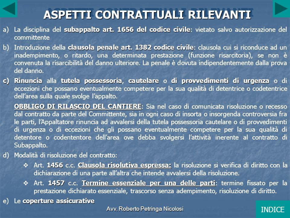 Avv.Roberto Petringa Nicolosi ASPETTI CONTRATTUALI RILEVANTI subappalto art.